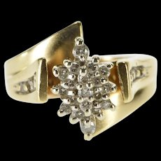 10K Diamond Pointed Cluster Raise Design Accent Ring Size 3 Yellow Gold [QWQX]