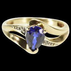 10K Pear Syn. Sapphire Diamond Accented Wavy Design Ring Size 4.75 Yellow Gold [QWQX]