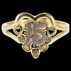 14K 15 Two Tone Cubic Zirconia Accent Heart Ring Size 6.75 Yellow Gold [QWQX]