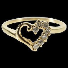 10K Half Cubic Zirconia Encrusted Heart Cut Out Ring Size 6 Yellow Gold [QWQX]
