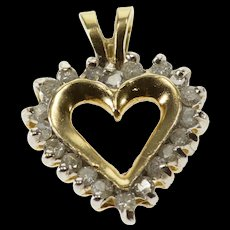 10K Diamond Inset Halo Cut Out Heart Pendant Yellow Gold  [QWQX]