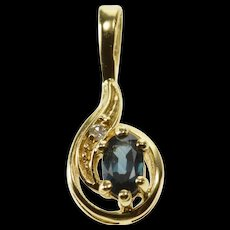 14K Sapphire Oval Diamond Accented Wavy Design Pendant Yellow Gold  [QWQX]
