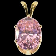 14K Oval Pink Cubic Zirconia Solitaire Pendant Yellow Gold  [QWQX]