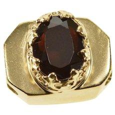 14K Oval Garnet Ornate Prong Slide Charm/Pendant Yellow Gold  [QRXT]