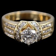 14K 1.00 Ct Round G / VS2 Diamond 1.75 Ctw Engagement Ring Size 8.5 Yellow Gold [QWXP]