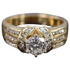14K 1.00 Ct Round G / VS2 Diamond 1.75 Ctw Engagement Ring Size 8.5 Yellow Gold [QWXP]