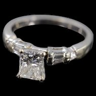 14K 1.10 Ct H/SI1 Radiant 1.46 Ctw Diamond Engagement Ring Size 7 White Gold [QWXP]