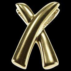 10K Two Tone Criss Cross X Reversible Pendant Yellow Gold  [QWQX]