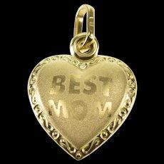 10K Best Mom Brushed Finish Puffy Heart Trim Pendant Yellow Gold  [QWQX]