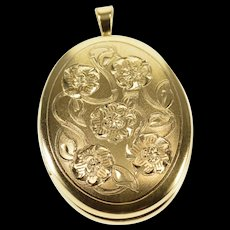 14K Oval Etched Floral Design Locket Pendant Yellow Gold  [QWQX]