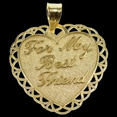 14K For My Best Friend Embossed Pitted Texture Heart Pendant Yellow Gold  [QWQX]