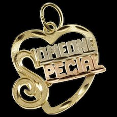 14K Tri Tone Someone Special Etched Heart Charm/Pendant Yellow Gold  [QWQX]