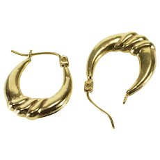 10K Puffy Scalloped Twist Oval Hoop EarRings Yellow Gold  [QWQX]