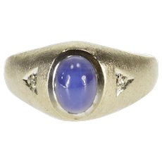10K Oval Star Sapphire Diamond Accent Textured Ring Size 8.5 White Gold [QPQC]