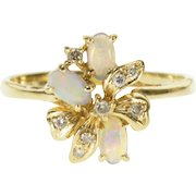 14K Opal* Oval Diamond Encrusted Bow Cluster Ring Size 8.75 Yellow Gold [QPQC]