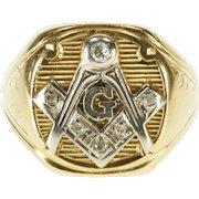 14K Diamond Inset Masonic Compass Square Symbol Ring Size 9.5 Yellow Gold [QPQC]