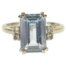 10K Emerald Cut Blue Topaz Diamond Accent Statement Ring Size 6.5 White Gold [QWQX]