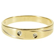 14K Diamond Inset Grooved Patterned Textured Band Ring Size 9.5 Yellow Gold [QRXT]