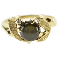 14K Black Star Sapphire Diamond Accented Leaf Ring Size 5.5 Yellow Gold [QWQX]