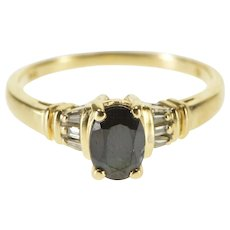 10K Oval Sapphire Diamond Alternative Engagement Ring Size 6.75 Yellow Gold [QWXQ]