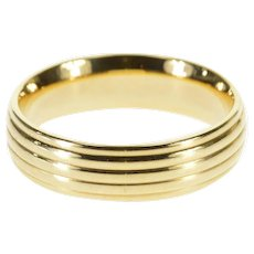 14K Rounded Grooved Design Wedding Band Ring Size 9.5 Yellow Gold [QRXT]