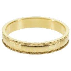 14K Disco Ball Pressed Checkered Wedding Band Ring Size 9.75 Yellow Gold [QWXQ]