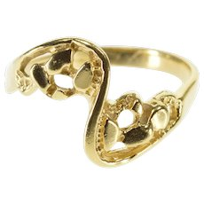 14K Wavy Textured Nugget Freeform Bypass Ring Size 6.5 Yellow Gold [QPQC]