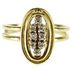 14K Diamond Oval Tiered Design Cluster Statement Ring Size 3.75 Yellow Gold [QPQC]