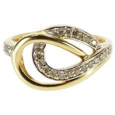 10K 0.20 Ctw Diamond Inset Interlock Loop Band Ring Size 6.75 Yellow Gold [QWQX]