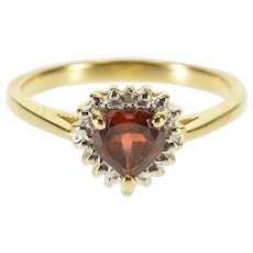 14K Garnet Heart Diamond Inset Accent Halo Ring Size 6.75 Yellow Gold [QWQX]