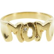 10K Diamond Inset Squared Mom Mother Word Band Ring Size 9 Yellow Gold [QPQC]