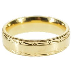 14K Dot Trim Grooved Patterned Men's Wedding Ring Size 9.75 Yellow Gold [QPQC]