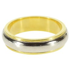 18K Two Tone Rounded Grooved Wedding Band Ring Size 5.75 Yellow Gold [QPQC]