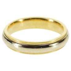 14K Two Tone Rounded Classic Wedding Band Ring Size 6.25 Yellow Gold [QWQX]