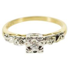 14K 0.08 Ctw Diamond Retro Engagement Promise Ring Size 6.5 Yellow Gold [QWQX]