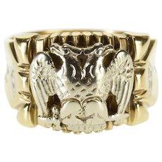 10K Two Tone Ornate 32nd Degree Masonic Eagle Ring Size 11.25 Yellow Gold [QWQQ]