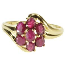 14K Oval Ruby Inset Cluster Freeform Statement Ring Size 7.5 Yellow Gold [QPQC]