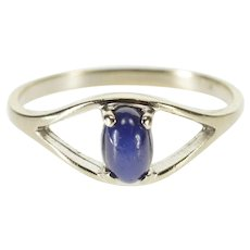 10K Oval Star Sapphire* Cabochon Split Band Ring Size 5.75 White Gold [QPQC]