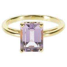 14K Amethyst* Emerald Cut Solitaire Scroll Bridge Ring Size 6 Yellow Gold [QPQC]