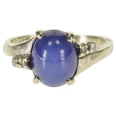 14K Oval Star Sapphire Diamond Accented Bypass Ring Size 5.75 White Gold [QWQQ]