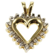 14K Diamond Inset Halo Cut Out Heart Pendant Yellow Gold  [QWXQ]
