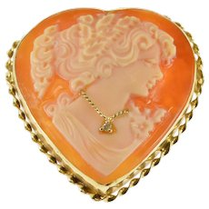 14K Heart Cut Carved Shell Cameo Diamond Necklace Pendant/Pin Yellow Gold  [QWXQ]