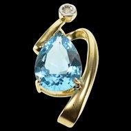 10K Pear Cut Blue Topaz Diamond Accent Wave Pendant Yellow Gold  [QRXT]