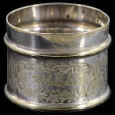 BASE METAL Engraved Silverplate Napkin Ring    [QWXK]