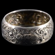 Silver Thomas Hayes English Ornate Floral Motif Napkin Ring    [QPQQ]