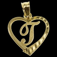 10K T Letter Initial Textured Diamond Cut Heart Charm/Pendant Yellow Gold  [QWXQ]