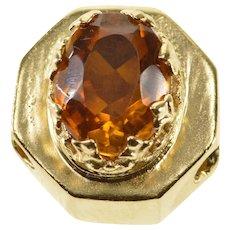 14K Oval Citrine Ornate Prong Set Slide Bracelet Charm/Pendant Yellow Gold  [QRXT]