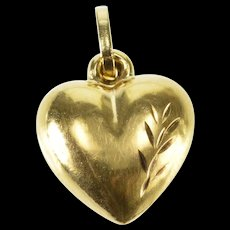14K Puffy Rounded Leaf Etched Pattern Heart Charm/Pendant Yellow Gold  [QWXQ]