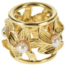 14K Pearl Inset Floral Rounded Flower Design Bead Charm/Pendant Yellow Gold  [QWXQ]