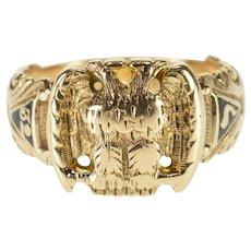 10K 32nd Degree Masonic Eagle Enamel Men's Ring Size 10.25 Yellow Gold [QWQQ]